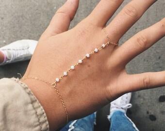 The Graham Hand Chain - White or gold hand chain with dainty gold chain - thin beaded hand chain - hand jewelry - dainty hand chain