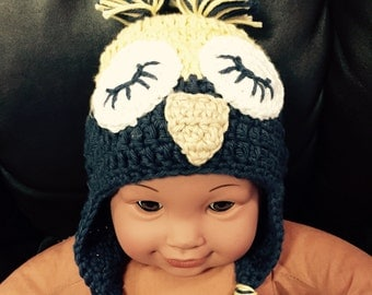 SALE Owl hat 0-3 months