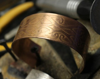 Handmade Etched Copper Cuff