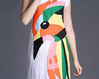 SALE Parrot Smock Dress