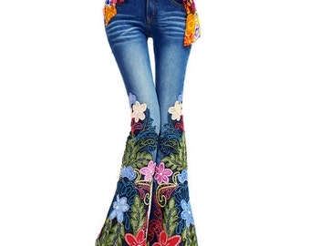Vintage Styled Floral Embroidered Bell Bottoms Jeans