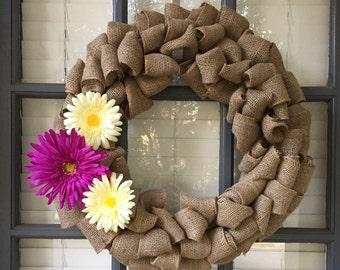 Spring Burlap Wreath