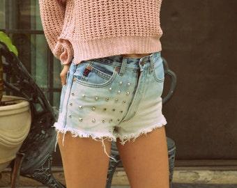 High Waisted Denim Jean Shorts Bleached
