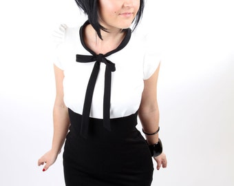 "Lee ""Schlefy"" dress black white ladies short sleeve"