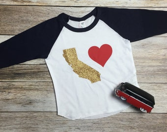 California Love Raglan. California Shirt. Kid's California Shirt. California. California Love.