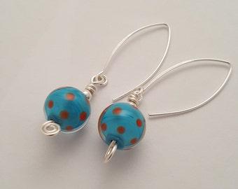 Funky handmade dotty earrings - lampwork glass / beads / handmade / birthday gift