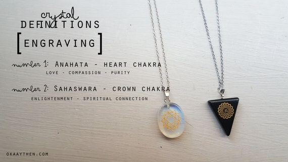 Anahata & Sahaswara (Heart and Crown Chakra) Engraved Crystal Pendants - Opalite and Onyx