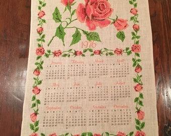 Vintage 1976 Linen Wall Calendar, Rose Wall Calender for 1976