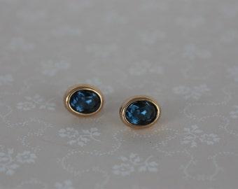 Vintage Oval Earrings - Faux Sapphire Studs - M & S Stud Earrings - Vintage Stud Earrings