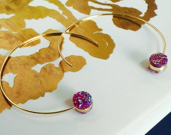 Rose Hoop Earrings, Druzy Stone Earrings, Gold Hoop Earrings, Druzy Hoop Earrings, Minimalist Earrings