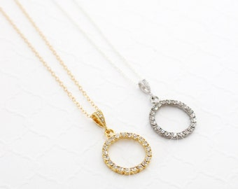 Christmas Necklace for Best Friend, Gold Eternity Necklace, Sterling Silver Minimalistic Necklace Birthday Gift for Best Friend BFF Necklace