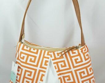 Orange White Brown Faux Leather Hobo HandBag, Hobo Purse, Orange White Brown Purse, Gift For Her, Gift for Mom, Mothers Day Gift, Custom