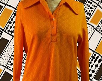 Vintage shirt wide collar long sleeves sewn wavy orange 1970