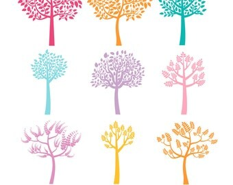 Colorful tree clipart, Color tree silhouette clipart, Fall tree clip art, Forest tree clipart, Seasonal tree clipart, Printable clipart tree
