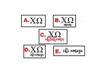 20- Chi Omega Stickers decal