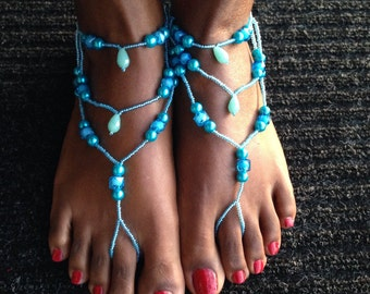 Beach Barefoot sandals, wedding - Turquoise Pearls and Crystals Barefoot Sandals
