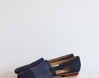 Vintage Navy Blue Suede Loafer Shoes by NICOLE 7.5/8N