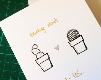 Cactus Pun Greeting Card 'Thinking About Cact-US'