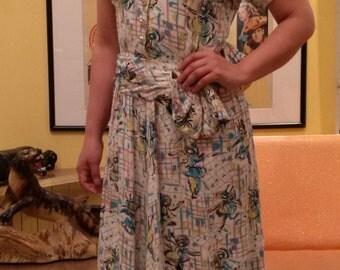 VINTAGE 1940'S  RAYON DRESS