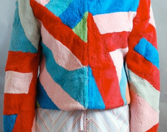 Rabbit fur multi-color cropped jacket