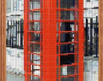 London Telephone Box Colour Cross Stitch Chart
