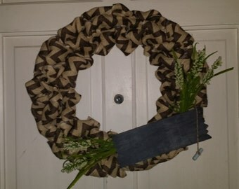Nutural and Gray Burlap Wreath with Wild Flowers and Chalkboard