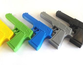 Desert Eagle 3D printed rubber band gun for KIDs, BLACK Children toy gift pistol with Elastic bands