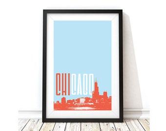 Chicago Skyline Art Print - Colors of Chicago Flag