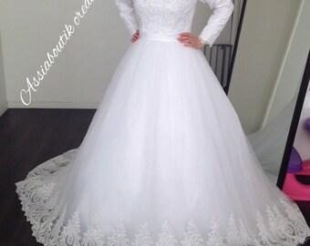 Hijab Wedding Dress Muslim Long Sleeves Handmade