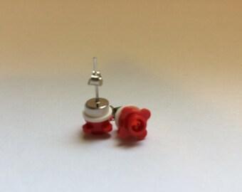 Lego Red Flower Earrings w/ rhinestones