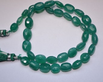 Brand New, 14 Inch Long Strand, GREEN ONYX Chalcedony  Drilled Oval Nuggets, Super 7x9 8x10mm approx Long size,GORGEOUS
