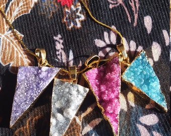 Druzy triangle crystal pendant necklace, handmade, gold chain
