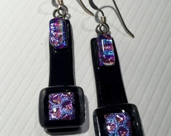 Earrings – Purple and Black Dichroic Fused Glass Earrings