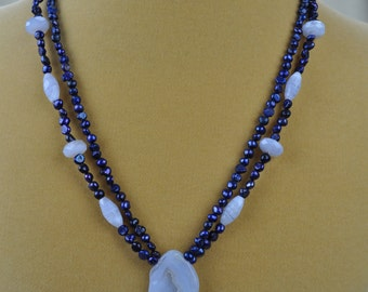 "Necklace - 18"" Moonstone and Freshwater Pearl Pendant Necklace"