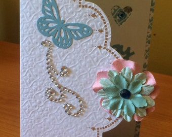 Butterfly Birthday Card - Blue