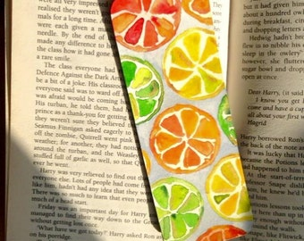 Handmade bookmark - citrus fruits