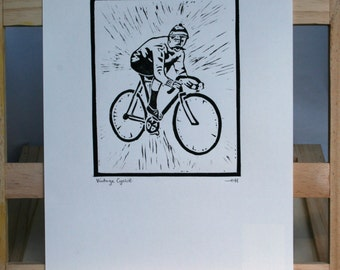 Vintage Cyclist Linocut Print, Hand Made Print, Lino Print, Cycling, Cyclist, Unique Artwork