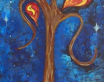 Original Abstract Tree Painting, Tree At Night Painting, Acrylic Art