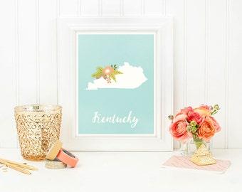 Kentucky printable, Kentucky print, Kentucky poster, Kentucky decor, Housewarming, Floral Kentucky sign, Kentucky wall art, Kentucky map