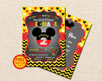 Mickey Mouse Invitation, 2nd Birthday Invitation, Mickey Mouse Birthday Invitation, Mickey Birthday, Free Thank You Card, red, yellow