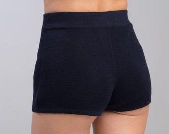 Knitted shorts elastic soft wool adjustable woman fashion