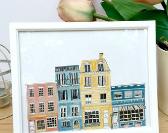 Amsterdam Print / Original Unique Painting  / A4 Illustration / Amsterdam houses