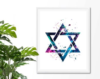 Star Of David #1 Watercolor Art Print,  Jewish, Shield of David, Hebrew, Religious, Magen David, Poster,Wall Art, Giclee,  Home Decor