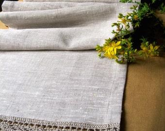 Linen Table Runner Coffee Table Runner Rustic Home Decor Grey Linen Runner Crochet Tablecloth Long Table