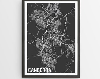 Canberra City Map Print - Various Colours / Capital of Australia / City Print / Gifts for Men / Australian Maps / Giclee Print / Poster