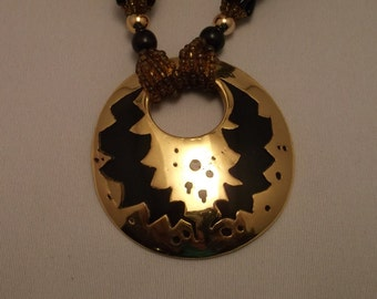 Vintage Beaded and Gold Pendant Necklace