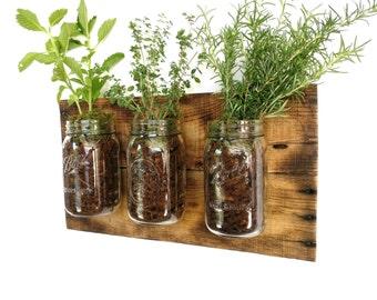 Rustic Herb Planter - reclaimed wood herb planter box outdoor herb planter outdoor wall planter outdoor hanging planter outdoor planter box