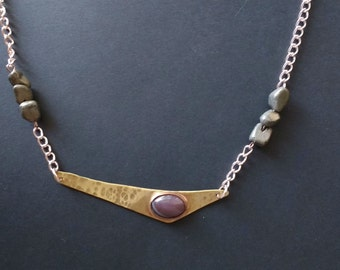 Brass and Agate Necklace