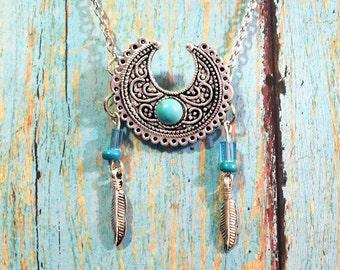 Western Boho Silver Necklace / Boho Necklace / Vintage Necklace / Silver Tone Necklace / Faux Turquoise Necklace