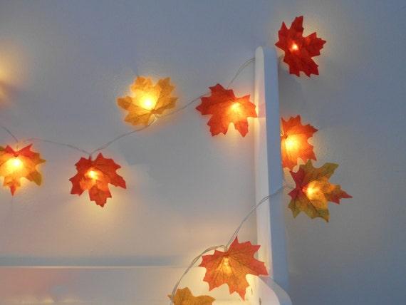 Maple Garland String Lights : Autumn Fairy Lights / String Lights Autumn Leaves Wedding